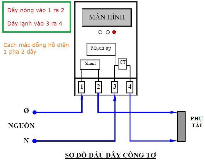 cách đấu dây đồng hồ điện 1 pha